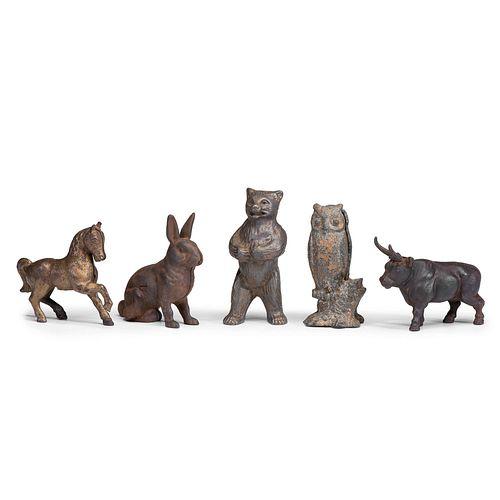 Five Cast Iron Animal Still Banks