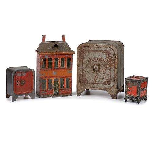 Three Tin Banks and a Toy Safe