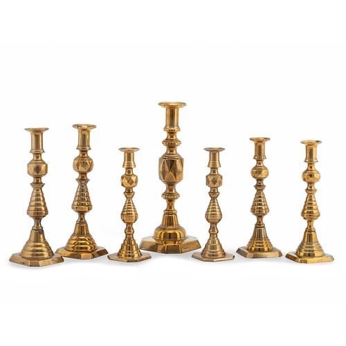 """Seven English Brass Faceted Candlesticks, Including the """"King of Diamonds"""""""