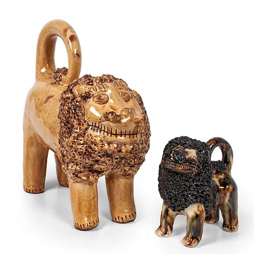Two Folk Art Pottery Lions, Including One by Billy Ray Hussey