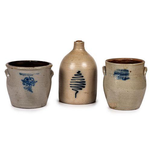 Three Pieces of Cobalt Decorated New York Stoneware