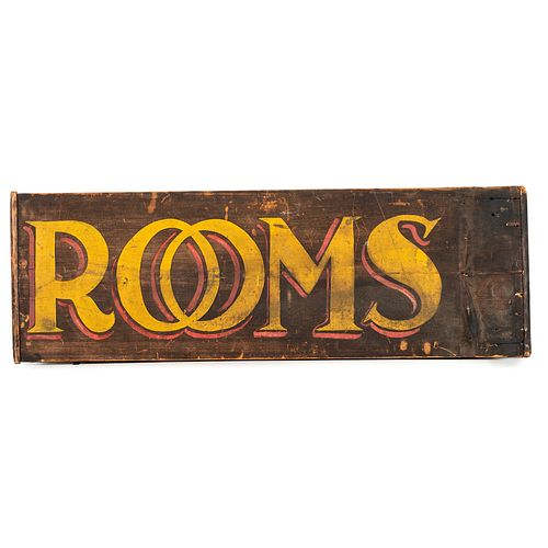 A Wooden Double-Sided Sign in Old Paint, Advertising Rooms
