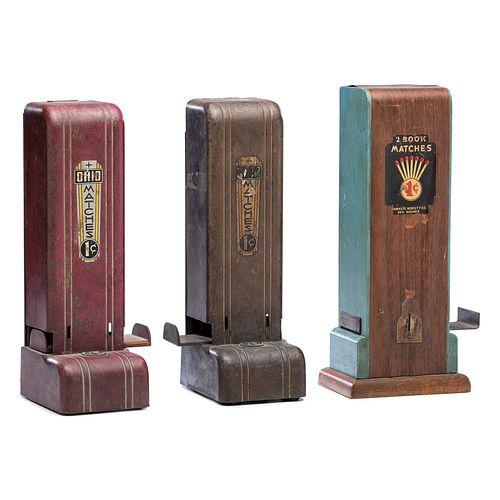 Three Art Deco Penny Match Dispensers
