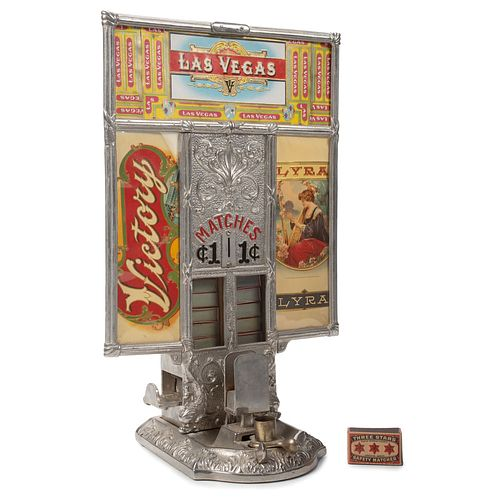 A Northwestern Penny Match Dispenser with Las Vegas Victory Label