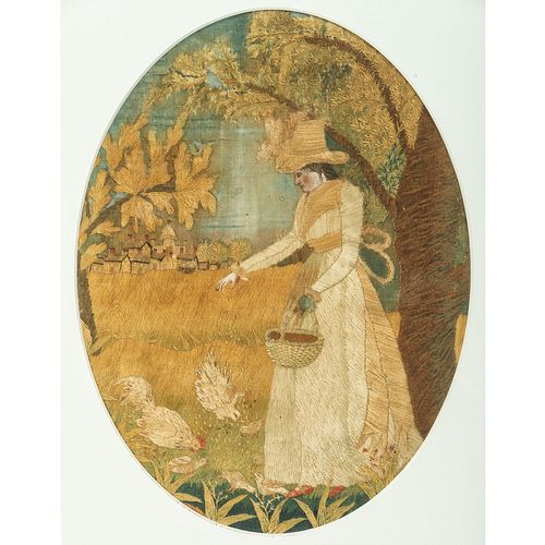 Two Silk and Watercolor Embroideries of Rural Scenes