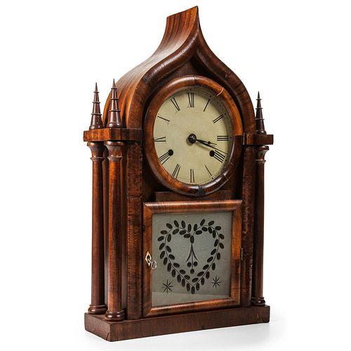 A Mahogany Ogee Arch Mantel Clock