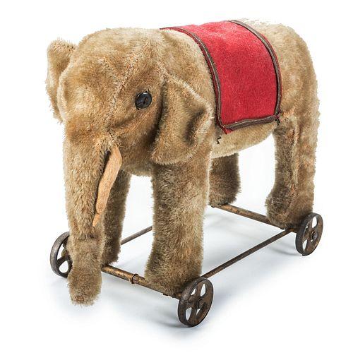 A Stuffed Elephant Pull Toy, Likely Steiff