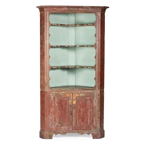 A Country Chippendale Red and Blue Painted Maple and Cherrywood Corner Cupboard, Western Pennsylvania or Ohio, Circa 1790
