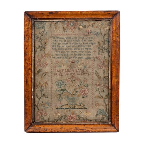 An Embroidered Schoolgirl's Needlework Sampler, Possibly French-Canadian, Mary Lespinas,1773