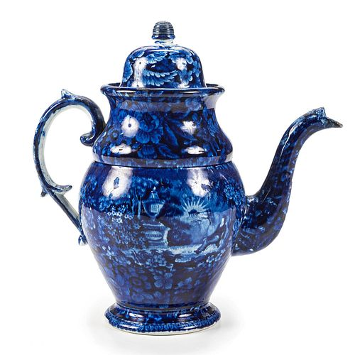 A Staffordshire Blue and White Lafayette at Franklin's Tomb Coffee Pot