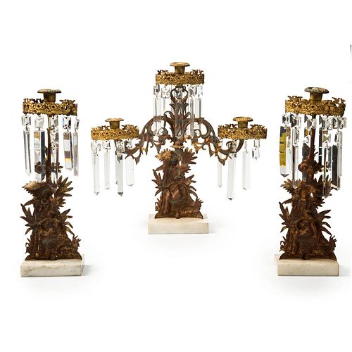 "A Three-Piece Gilt Figural ""Paul and Virgina"" Girandole Set"