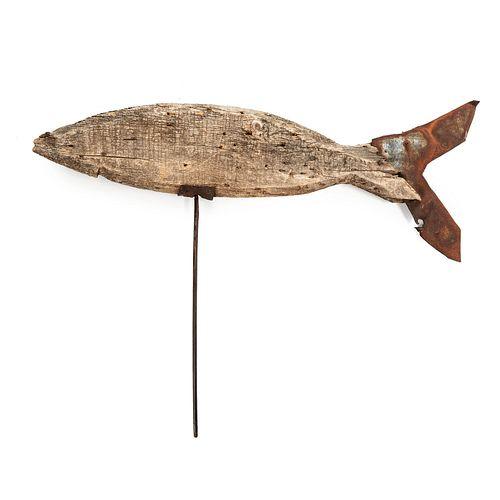 A Pine and Sheet-Tin Cod Fish Weathervane