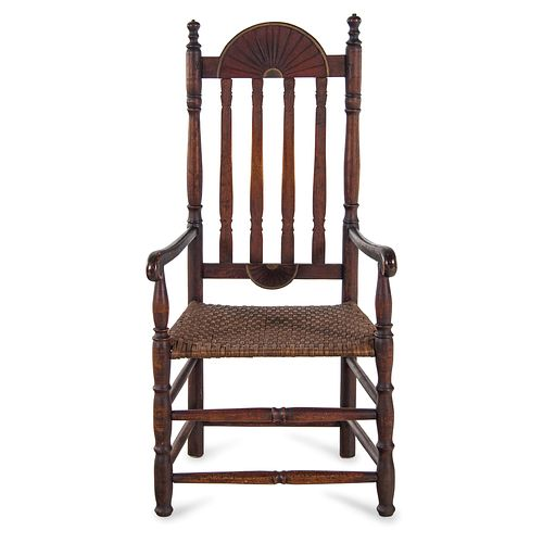 A William and Mary Style Red and Gilt Paint Decorated Bannister Back Woven Splint Seat Armchair, New England
