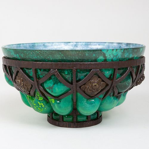 Louis Majorelle Glass and Wrought Iron Bowl