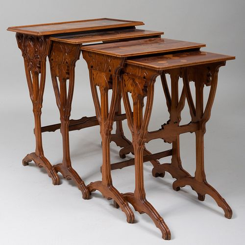 Émile Gallé  Mahogany and Statinwood Marquetry Nest of Four Tables, Signed Gallé