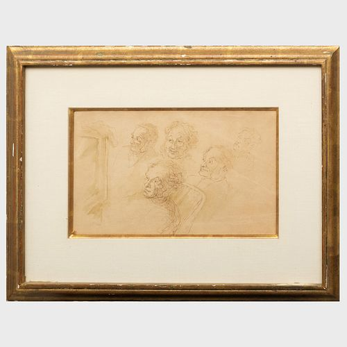 School of Honoré Daumier (1808-1879): Study of Five Heads