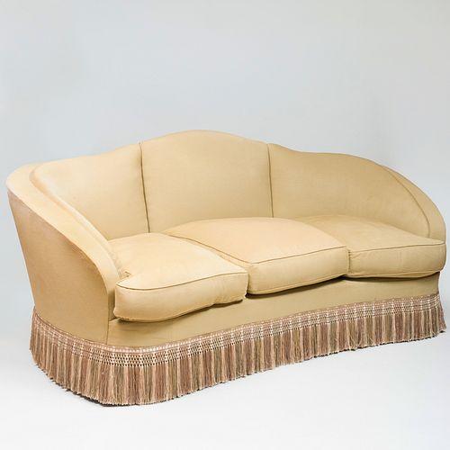 Modern Upholstered Camel Back Sofa with Fringe