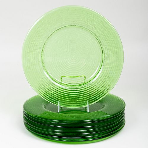 Set of Eight Green Glass Chargers