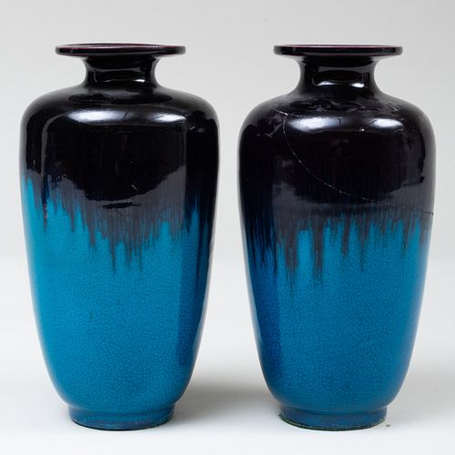Pair of Chinese Turquoise and Aubergine Glazed Porcelain Vases