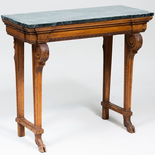 Continental Carved Oak Console Table