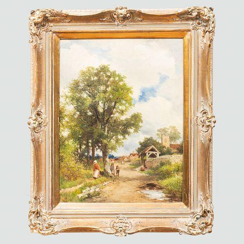 David Bates (1840-1921): The Lynch-Gate, Valley of the Avon, Warwick