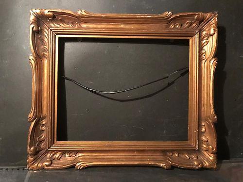 Antique/Vintage Leaf Motif Gold Medium Wood Picture Frame, 20th C