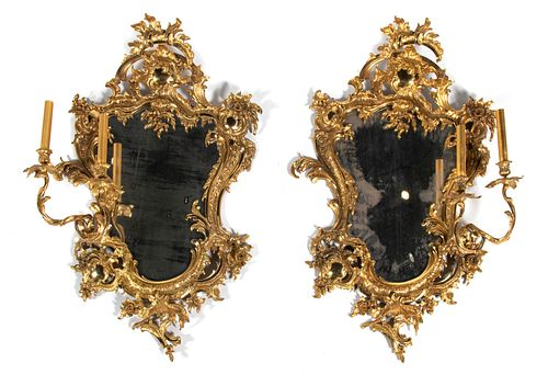 A Pair of Rococo Style Gilt-Metal Girandoles Height 35 x width 21 3/4 inches.
