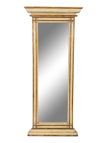 A Pair of Neoclassical Style Parcel-Gilt and Painted Pier Mirrors Height 60 x width 24 inches.