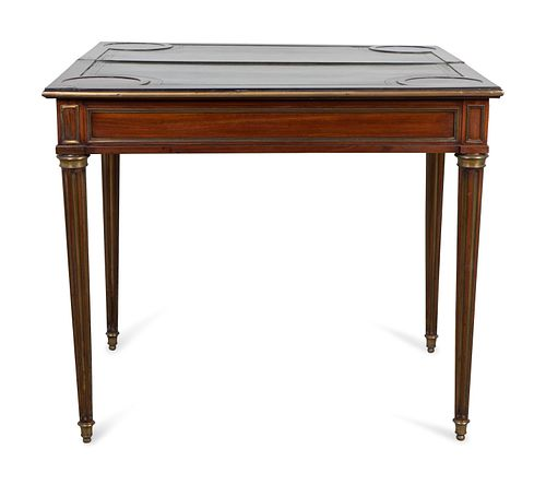 A Russian Neoclassical Style Brass-Mounted Mahogany Games Table Height 29 x width 33 3/4 x depth 16 3/4 inches.  Top extended 33 5/8 inches square.