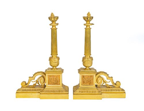 A Pair of Empire Style Gilt-Bronze Chenets Height 22 1/4 x width 13 3/4 inches.