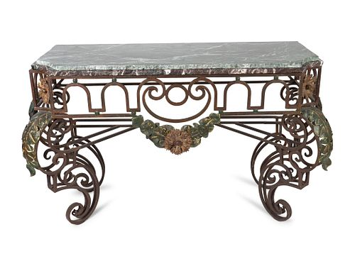 An Italian Rococo Style Wrought-Iron Console Height 35 1/4 x width 59 x depth 22 inches.