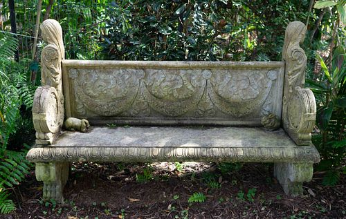 A Neoclassical Cast Stone Garden Bench Height 45 x width 72 1/4 x 21 inches.