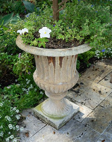 Four Campana Form Painted Iron Jardinieres on Plinth Bases Height 27 x diameter 15 inches.