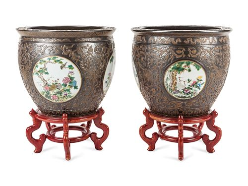 A Pair of Large Chinese Export Brown-Glazed Porcelain Jardinieres with Stands Height of jardiniere 17 1/2 x diameter 20 1/2 inches.