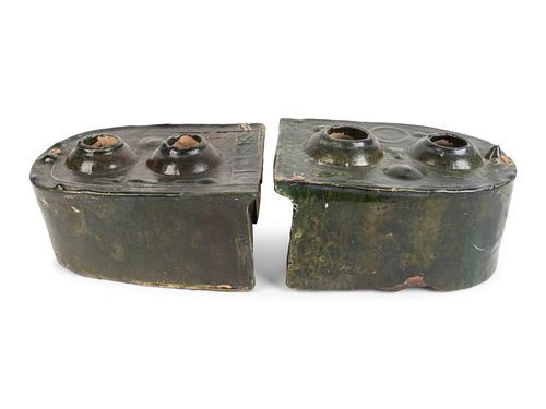 Two Chinese Green-Glazed Terracotta Stove ModelsHeight of larger 4 x width 8 x depth 6 1/2 inches.