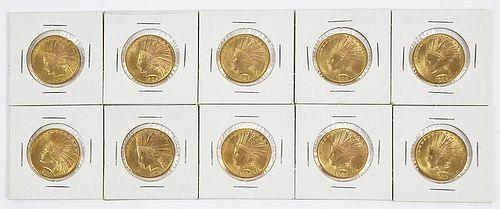 Ten Indian $10 Gold Coins
