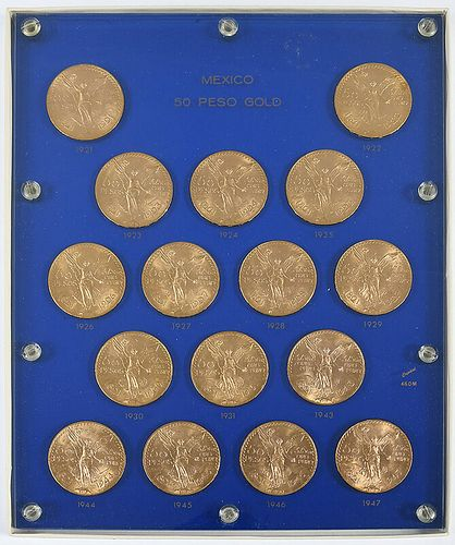16 Mexican Gold 50 Peso Coins