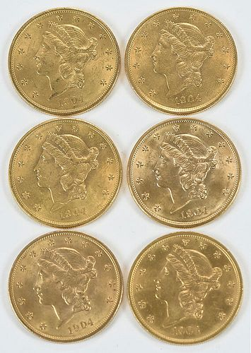 Six Liberty Head $20 Gold Coins