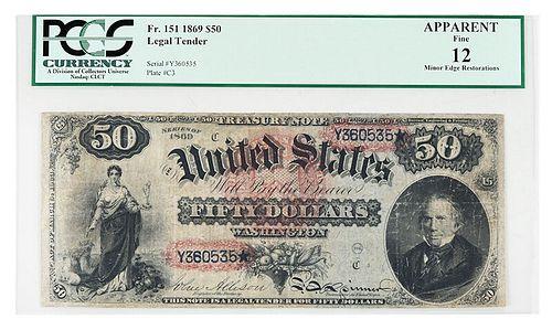 1869 $50 Legal Tender