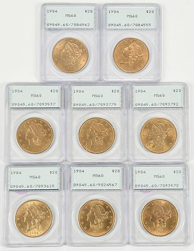 Eight Liberty Head $20 Gold Coins