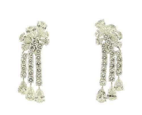 Platinum 30.00ct Diamond Drop Earrings