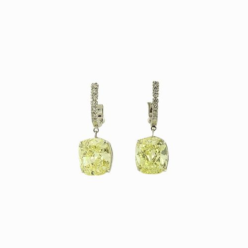 Important Fancy Intense Yellow 9.36TCW Earrings