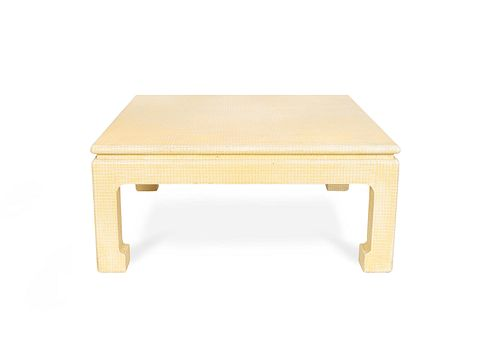 A Chinese Style Cloth-Wrapped Coffee Table Height 17 x length 38 x depth 38 inches.