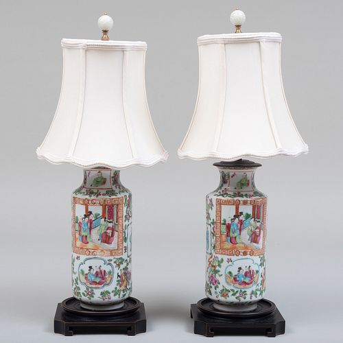 Pair of Chinese Export Canton Famille Rose Porcelain Vases Mounted as Lamps and a Pair of Custom Illumé Shades