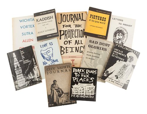 [THE BEATS]. A group of works by Allen Ginsberg, many from the Pocket Poets Series, many SIGNED OR INSCRIBED, including: