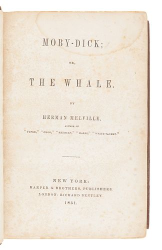MELVILLE, Herman (1819-1891). Moby-Dick; or, the Whale. New York: Harper & Brothers, 1851.