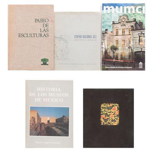LIBROS SOBRE LA CIUDAD DE MÉXICO. a) Historia de los Museos de México. b) Patrimonio Artístico. Piezas: 5.