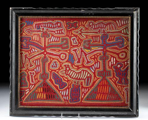 Framed Vintage Panamanian Fabric Mola - Weathervanes