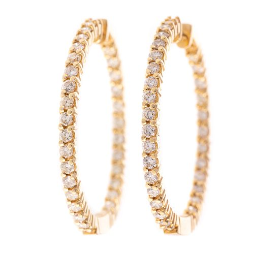 A Pair of Inside/Outside Diamond Hoops in 14K