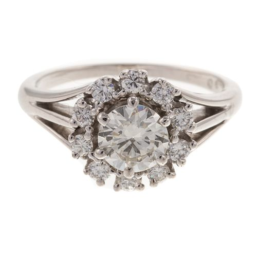 A GIA Round Brilliant Diamond & Diamond Halo Ring